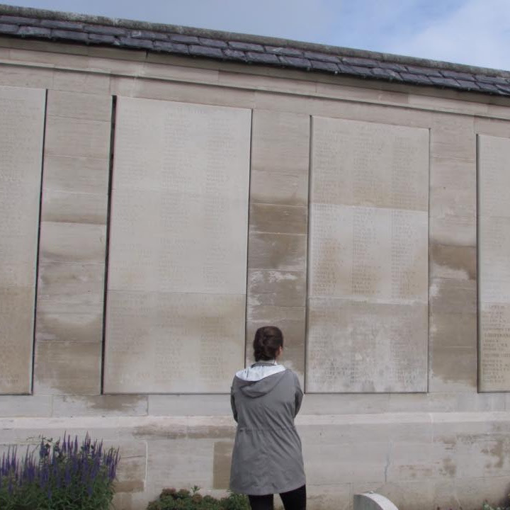 Awestruck at the Loos Memorial on 28 June 2016, three days before the centenary of the opening of the Battle of the Somme. Photo by Amy Lucadamo