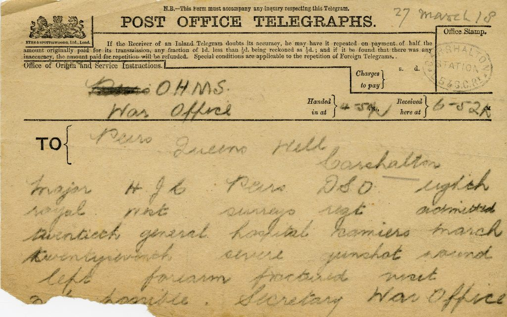 3 March 1918 telegram received by the Peirs family at home in Carshalton.