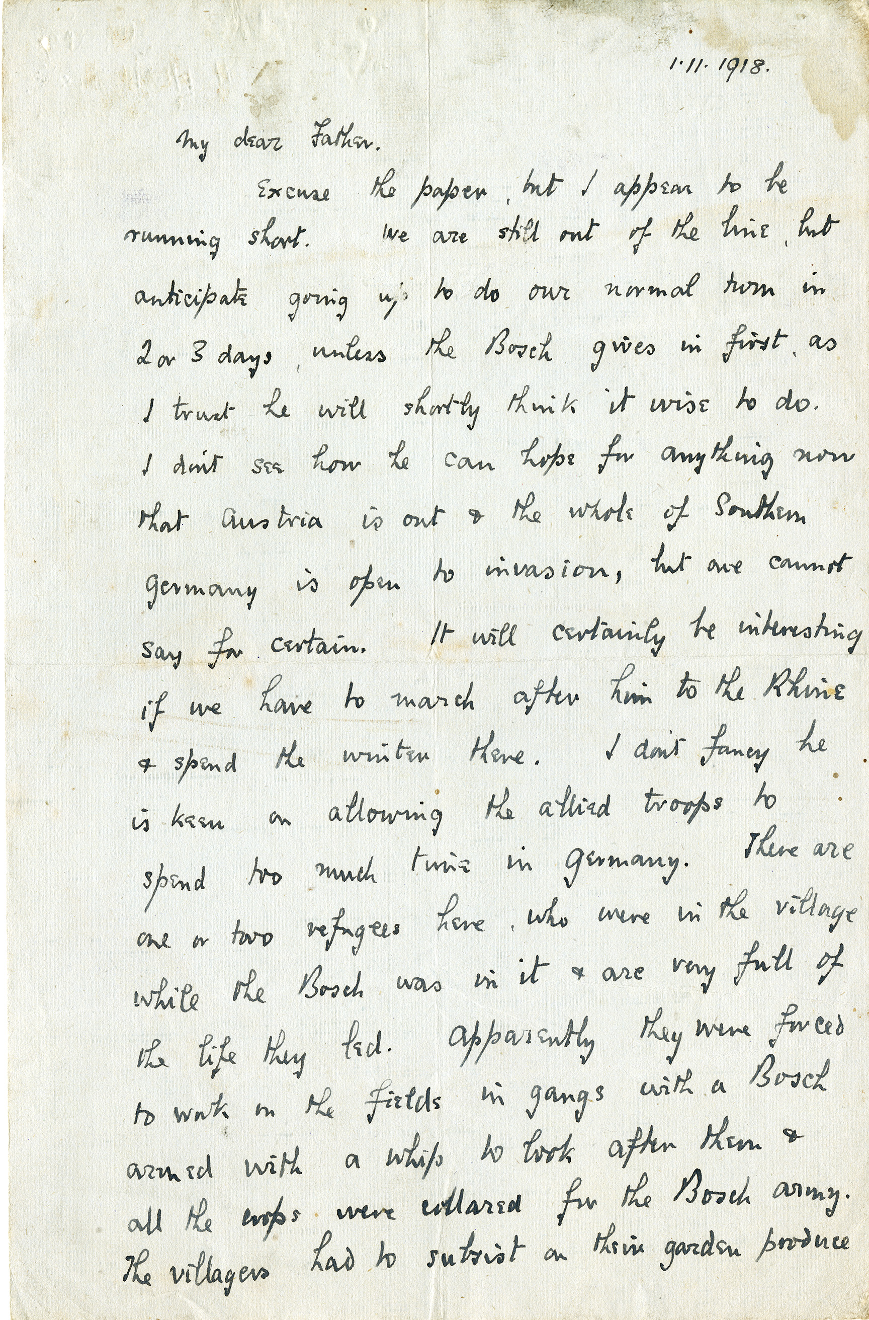 Letter to Father 1-11-1918 page 1