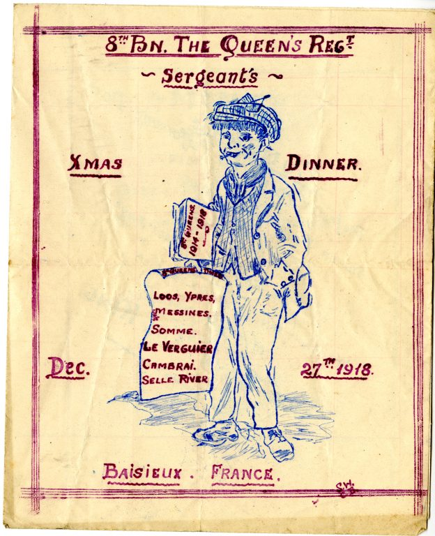 Menu from Sargents X-mas dinner - cover showing news boy