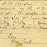 Detail of August 2, 1917 letter to his mother.