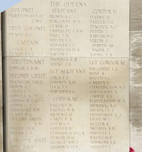 The first of three panels in the Dud Corner Cemetery (Loos-en-Gohelle, France) featuring names of soldiers from The Queens who were killed at Loos in 1915. Photo by Jenna Fleming.
