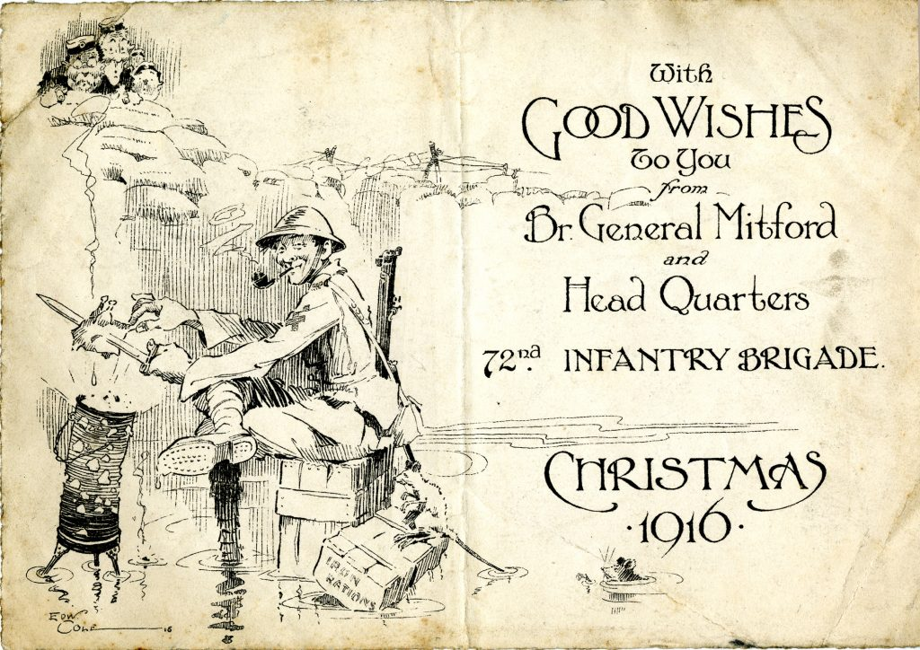 cover of a Christmas 1916 dinner menu for the 72nd Infantry Brigade