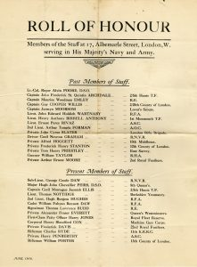 Listing of members of the staff at 17 Albemarle Street London who were serving in the Navy and Army. Jack Peirs listed as a present member of staff, June 1916