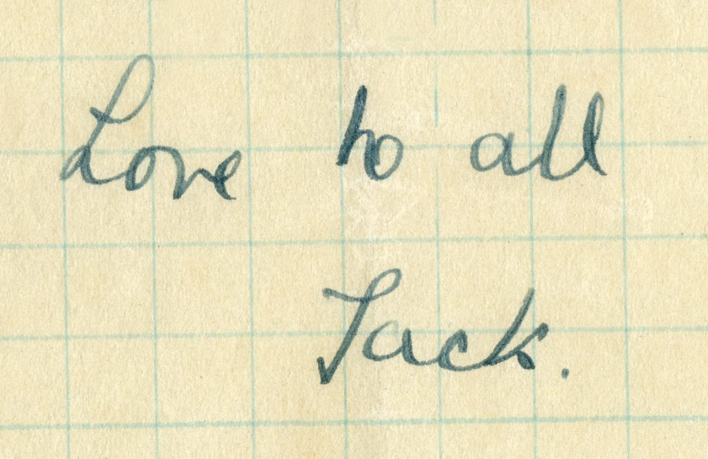"Close-up of letter closing ""Love to all, Jack"""