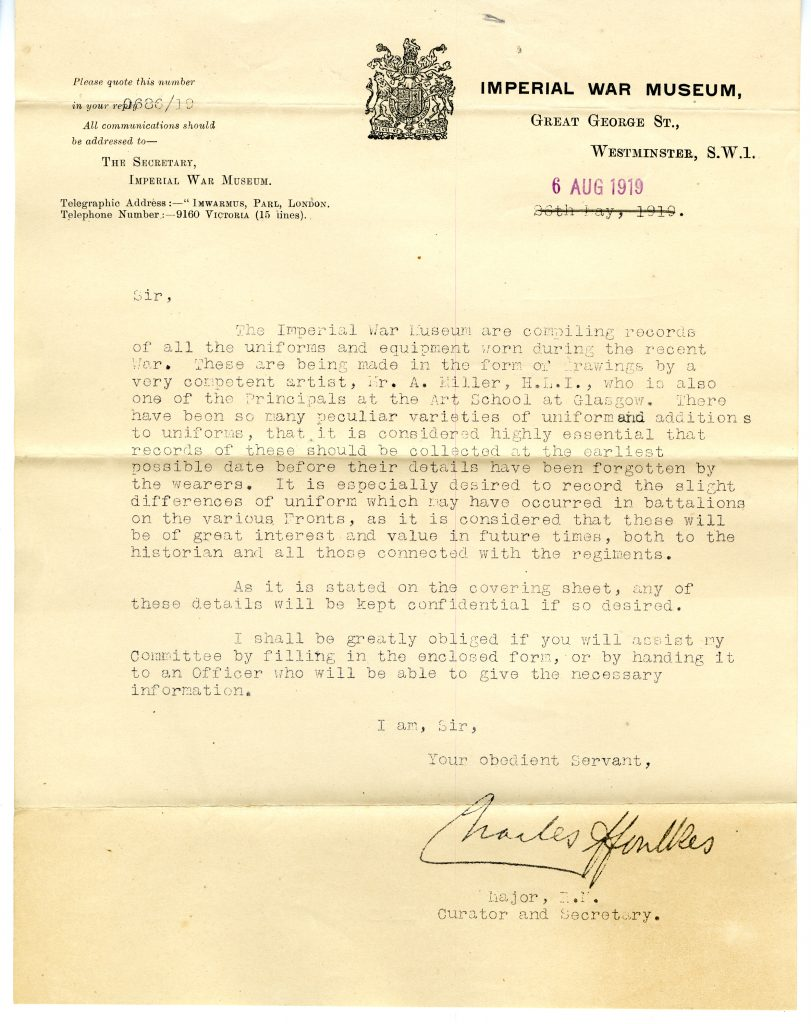 Letter on Imperial War Museum letterhead from Charles ffoulkes, curator of the Imperial War Museum, asking for information about uniforms worn during the First World War