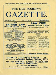 First page of The Law Society Gazette, September 1919 edition
