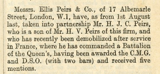 Detail of The Law Society Gazette describing H.J.C. Peirs becoming a partner at Ellis Peirs Co. firm