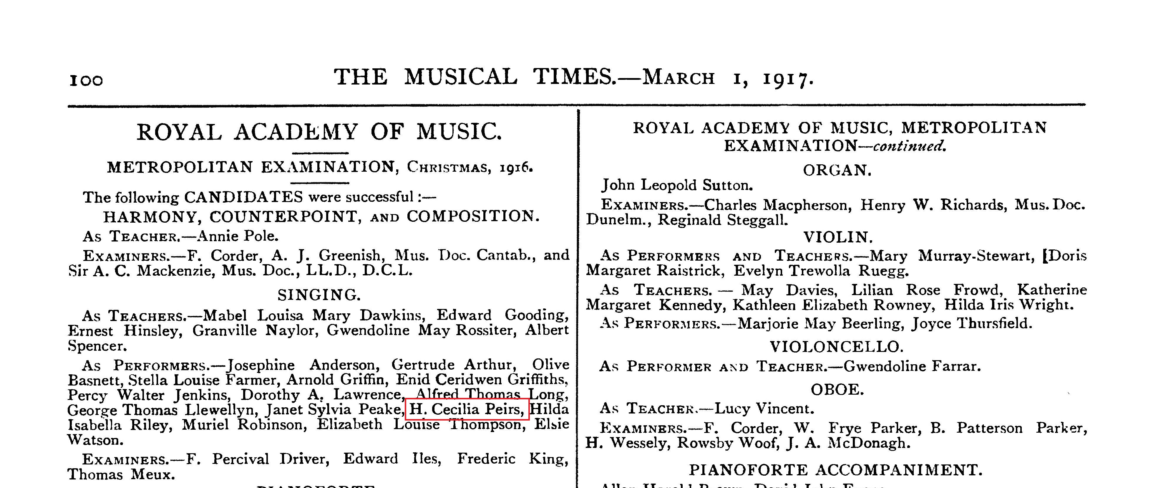 cropped page from The Musical Times, March 1, 1917, featuring the name H. Cecilia Peirs in a list of students who passed the Royal Academy of Music's Metropolitan Examination in Singing performance at Christmas 1916