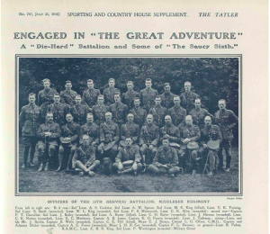 A Tatler article about the 13th Middlesex Regiment, July 26, 1916. Chevallier is furthest to the left standing in the second row.